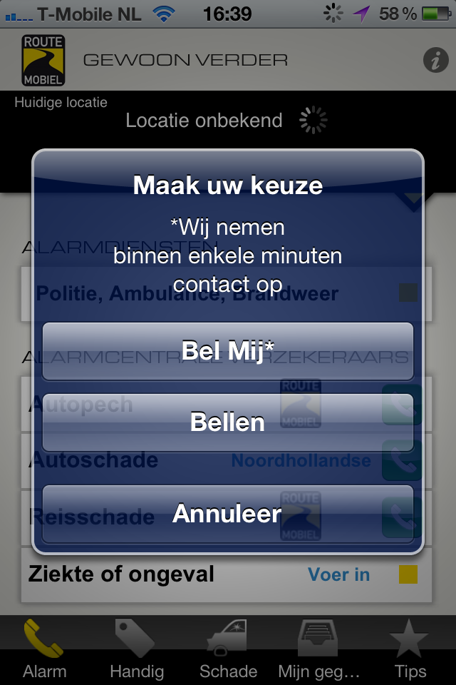 Route Mobiel app screenshot